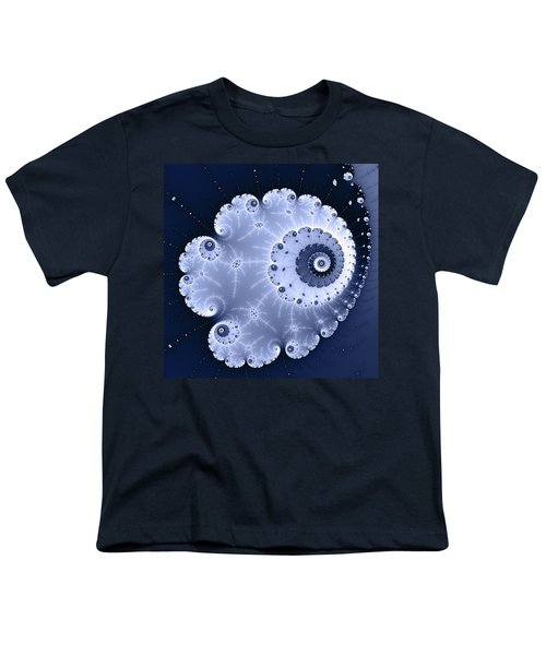 Fractal Spiral Light And Dark Blue Colors Youth T-Shirt