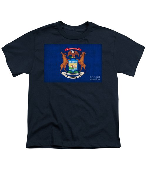 Michigan State Flag Youth T-Shirt by Pixel Chimp