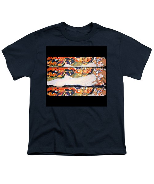Sea Serpent IIi Tryptic After Gustav Klimt Youth T-Shirt by Anna Porter