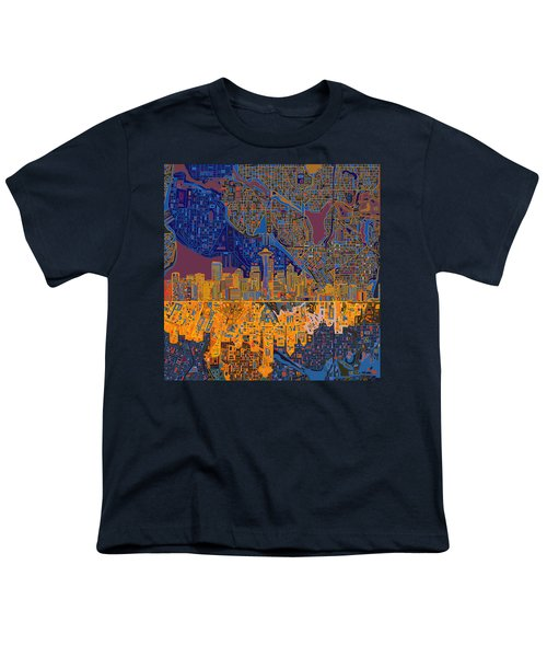 Seattle Skyline Abstract 4 Youth T-Shirt
