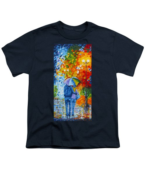 Youth T-Shirt featuring the painting Sharing Love On A Rainy Evening Original Palette Knife Painting by Georgeta Blanaru
