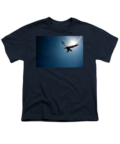 Vulture Flying In Front Of The Sun Youth T-Shirt by Johan Swanepoel