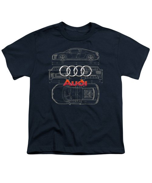 Audi 3 D Badge Over 2016 Audi R 8 Blueprint Youth T-Shirt by Serge Averbukh