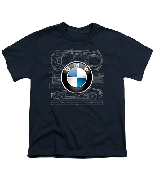 B M W 3 D Badge Over B M W I8 Blueprint  Youth T-Shirt by Serge Averbukh