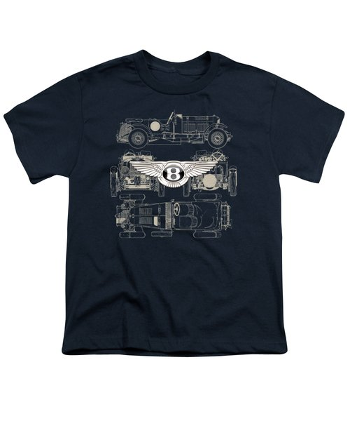 Bentley - 3 D Badge Over 1930 Bentley 4.5 Liter Blower Vintage Blueprint Youth T-Shirt