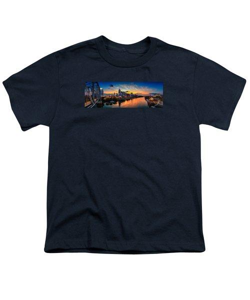 Nashville Skyline Panorama Youth T-Shirt by Brett Engle