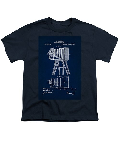 1885 Camera Us Patent Invention Drawing - Dark Blue Youth T-Shirt