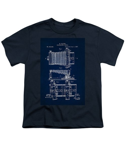 1897 Camera Us Patent Invention Drawing - Dark Blue Youth T-Shirt