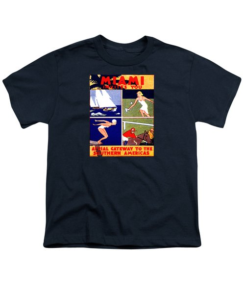1925 Miami Travel Poster Youth T-Shirt by Historic Image