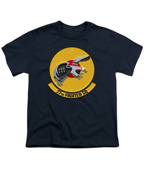 27th Fighter Squadron - 27 Fs Over Blue Velvet Youth T-Shirt by Serge Averbukh