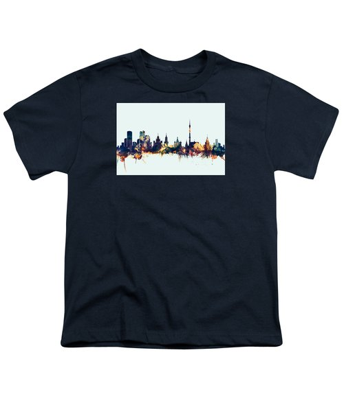 Moscow Russia Skyline Youth T-Shirt by Michael Tompsett