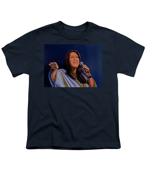 Aretha Franklin Painting Youth T-Shirt by Paul Meijering