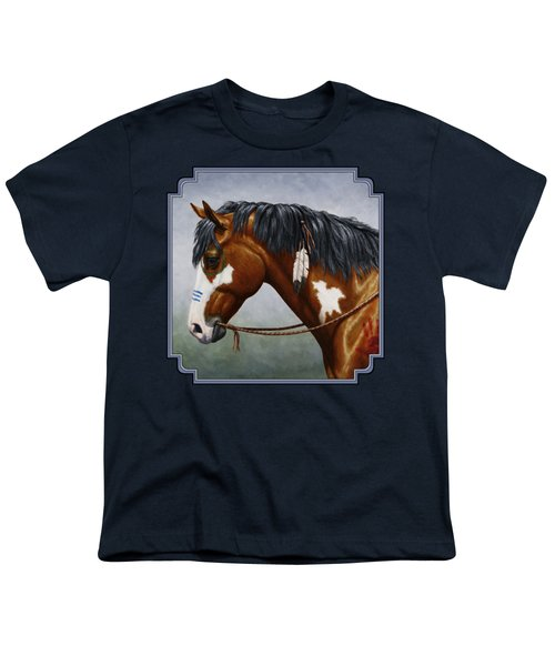 Bay Native American War Horse Youth T-Shirt by Crista Forest