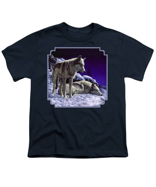 Wolf Painting - Night Watch Youth T-Shirt by Crista Forest