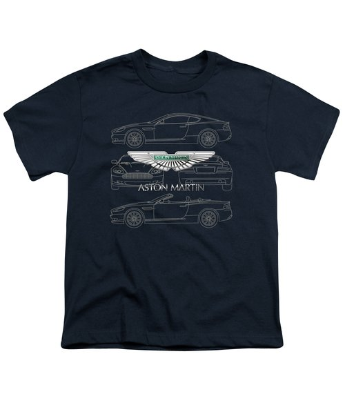 Aston Martin 3 D Badge Over Aston Martin D B 9 Blueprint Youth T-Shirt by Serge Averbukh