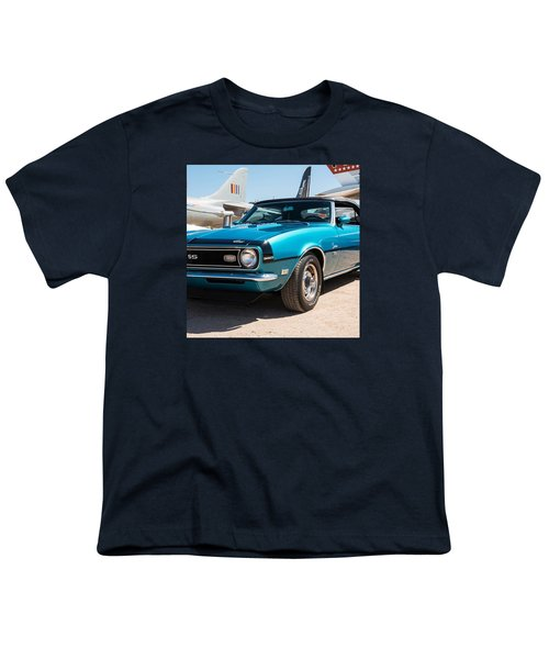 Blue 350 Chevy Camaro Ss Youth T-Shirt