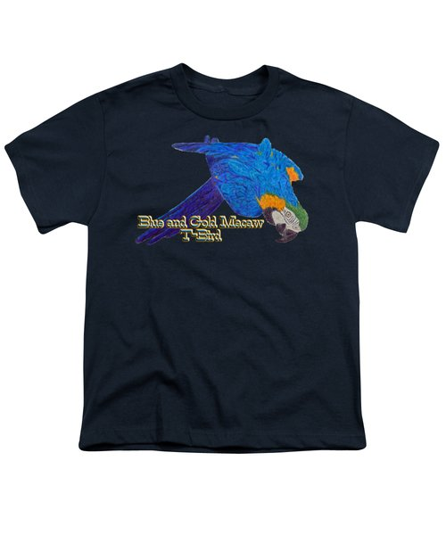 Blue And Gold Macaw Youth T-Shirt by Zazu's House Parrot Sanctuary