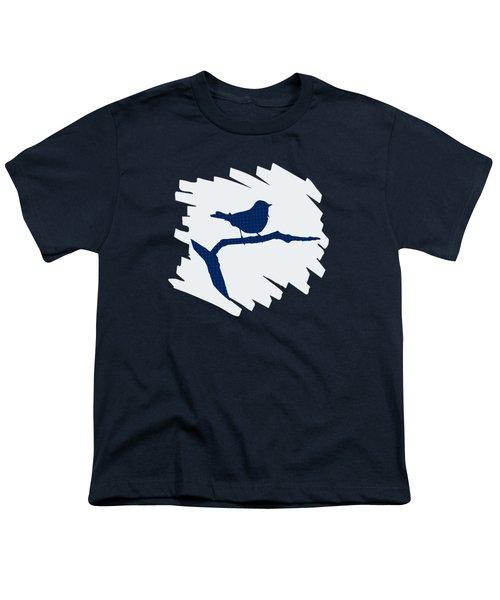 Blue Bird Silhouette Modern Bird Art Youth T-Shirt by Christina Rollo
