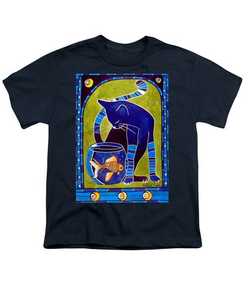 Youth T-Shirt featuring the painting Blue Cat With Goldfish by Dora Hathazi Mendes