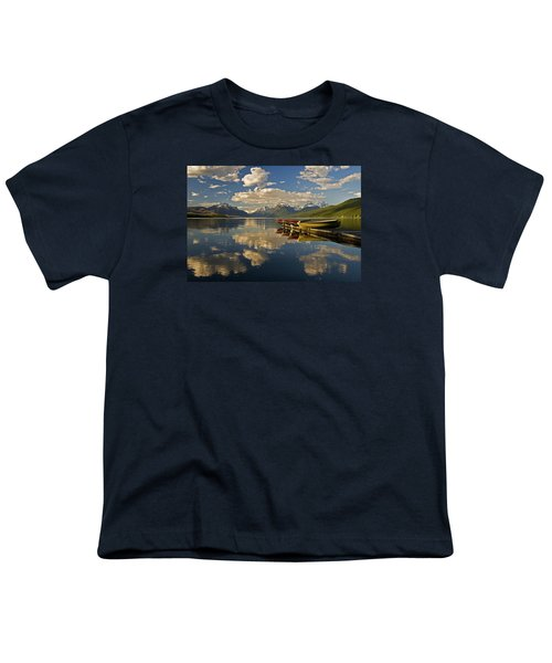 Youth T-Shirt featuring the photograph Boats At Lake Mcdonald by Gary Lengyel