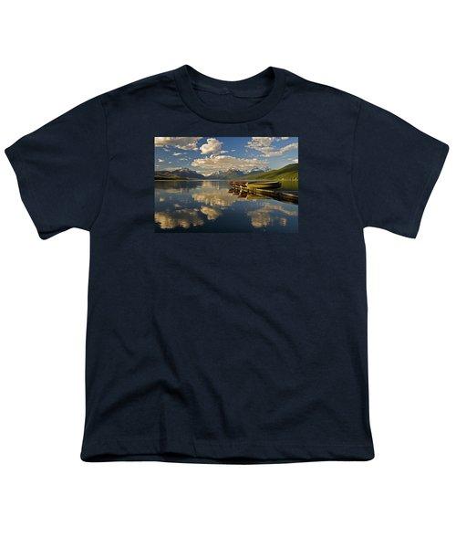 Boats At Lake Mcdonald Youth T-Shirt