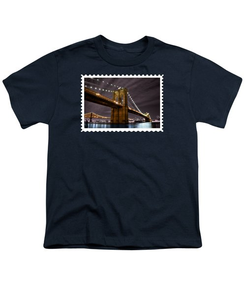 Brooklyn Bridge At Night New York City Youth T-Shirt by Elaine Plesser