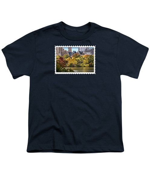 Central Park Lake In Fall Youth T-Shirt by Elaine Plesser