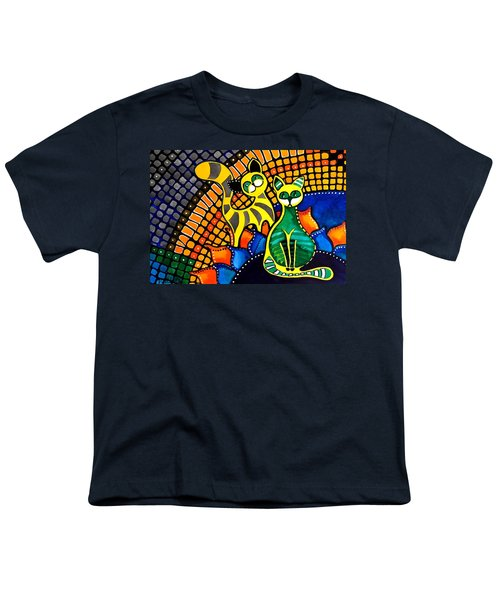 Youth T-Shirt featuring the painting Cheer Up My Friend - Cat Art By Dora Hathazi Mendes by Dora Hathazi Mendes