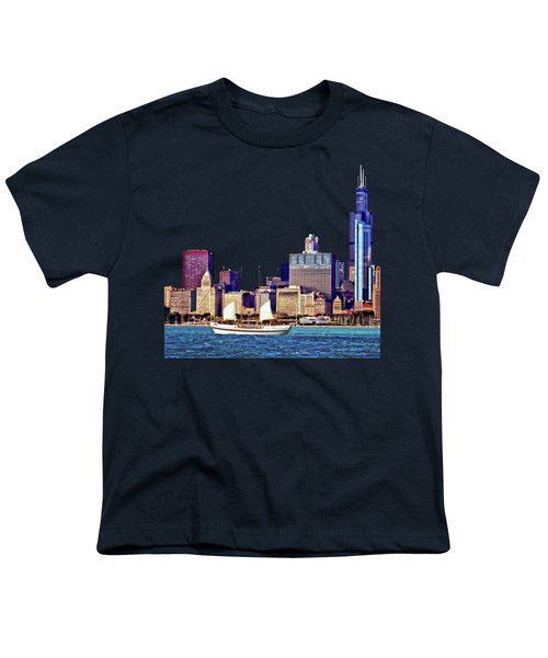 Chicago Il - Schooner Against Chicago Skyline Youth T-Shirt