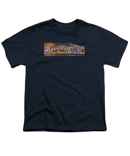 Chicago Skyline At Night Panorama Color 1 To 3 Ratio Youth T-Shirt by Jon Holiday