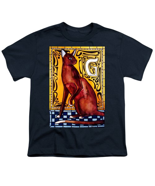 Youth T-Shirt featuring the painting Chocolate Delight - Havana Brown Cat - Cat Art By Dora Hathazi Mendes by Dora Hathazi Mendes
