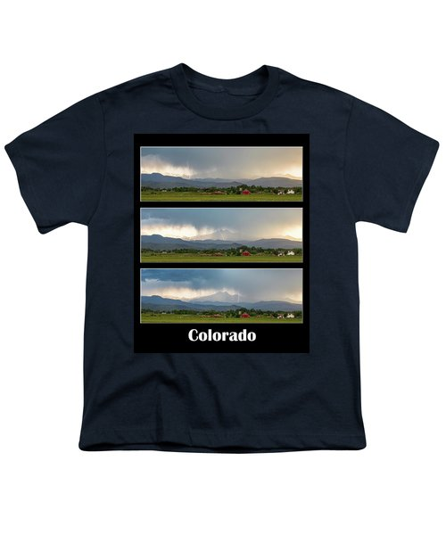 Youth T-Shirt featuring the photograph Colorado Front Range Longs Peak Lightning And Rain Poster by James BO Insogna