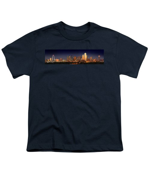 Dallas Skyline At Dusk  Youth T-Shirt by Jon Holiday