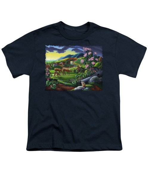 Deer Chipmunk Summer Appalachian Folk Art - Rural Country Farm Landscape - Americana  Youth T-Shirt