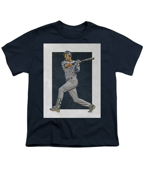 Derek Jeter New York Yankees Art 2 Youth T-Shirt by Joe Hamilton