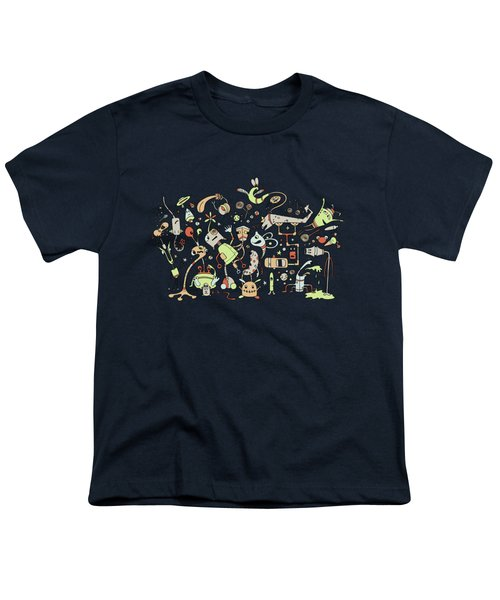Doodle Bots Youth T-Shirt by Dana Alfonso