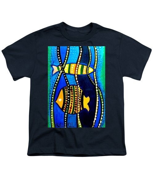 Youth T-Shirt featuring the painting Fishes With Seaweed - Art By Dora Hathazi Mendes by Dora Hathazi Mendes