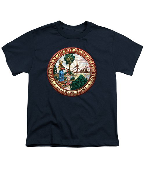 Florida State Seal Over Blue Velvet Youth T-Shirt by Serge Averbukh