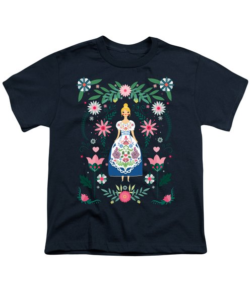 Folk Art Forest Fairy Tale Fraulein Youth T-Shirt