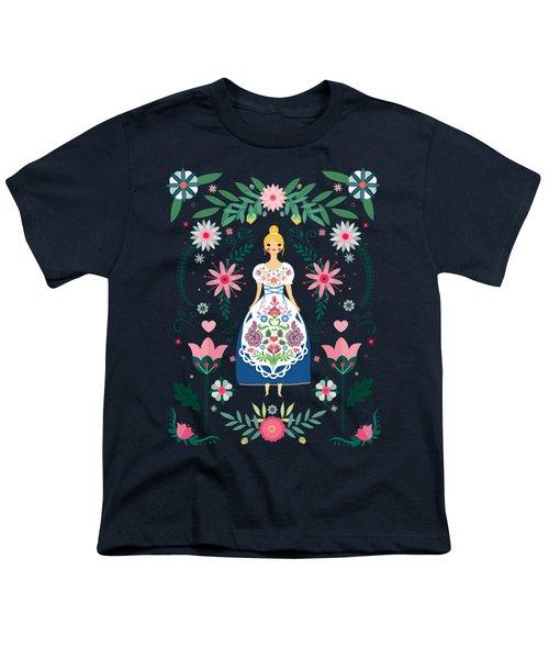 Folk Art Forest Fairy Tale Fraulein Youth T-Shirt