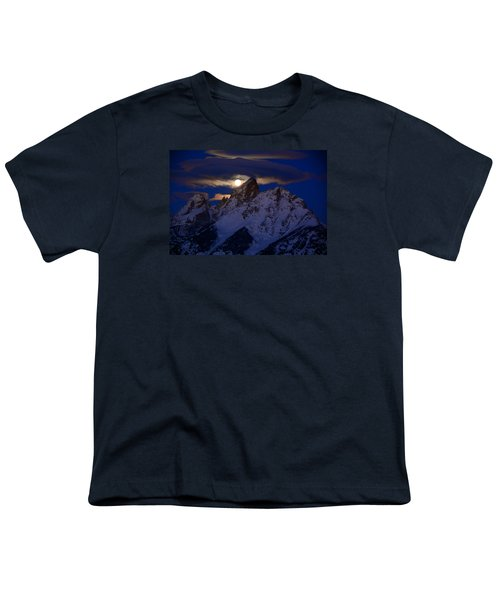 Full Moon Sets Over The Grand Teton Youth T-Shirt