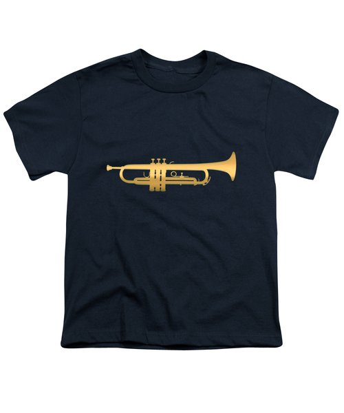 Gold Embossed Trumpet On Dark Midnight Blue Background Youth T-Shirt