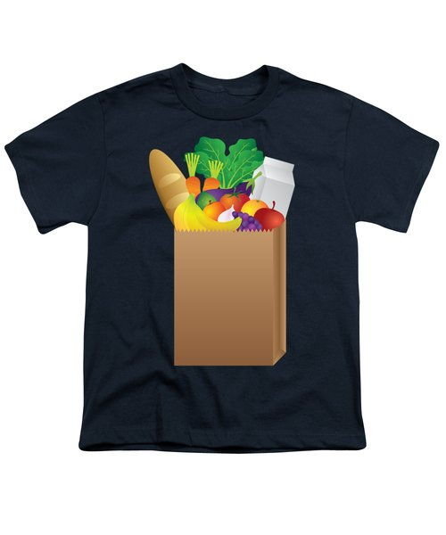 Grocery Paper Bag Of Food Illustration Youth T-Shirt by Jit Lim