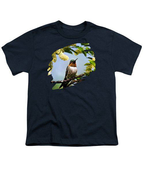 Hummingbird With Flowers Youth T-Shirt by Christina Rollo