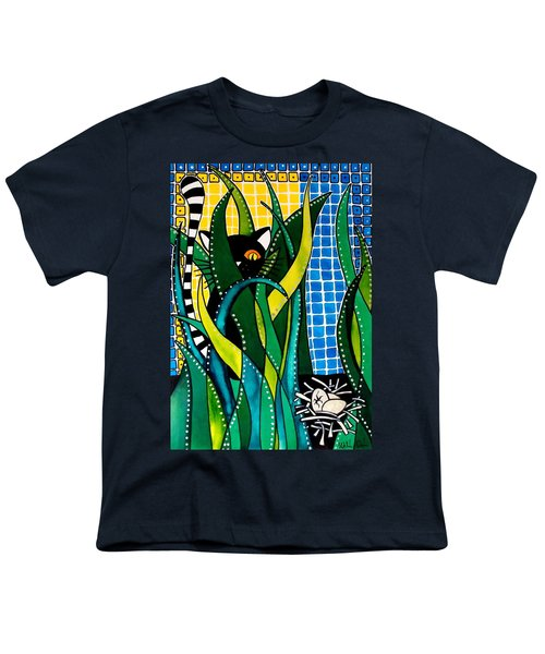 Youth T-Shirt featuring the painting Hunter In Camouflage - Cat Art By Dora Hathazi Mendes by Dora Hathazi Mendes