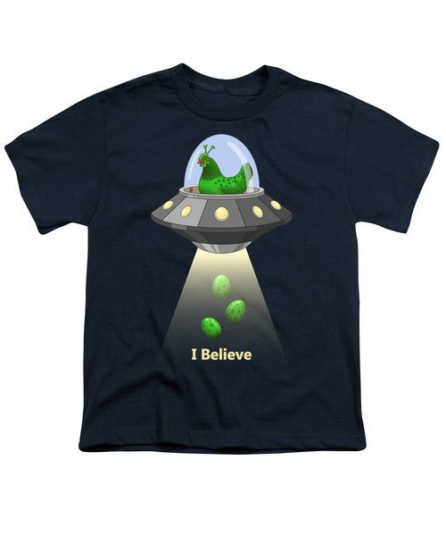 I Believe In Green Chicken Aliens Youth T-Shirt