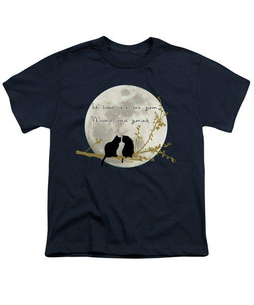 Youth T-Shirt featuring the digital art Ich Liebe Dich Bis Zum Mond Und Zuruck  by Linda Lees