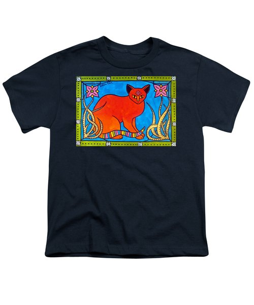 Youth T-Shirt featuring the painting Indian Cat With Lilies by Dora Hathazi Mendes