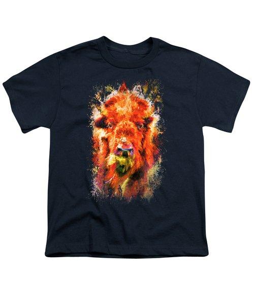 Jazzy Buffalo Colorful Animal Art By Jai Johnson Youth T-Shirt by Jai Johnson