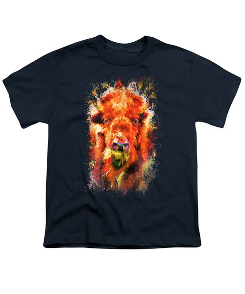 Jazzy Buffalo Colorful Animal Art By Jai Johnson Youth T-Shirt